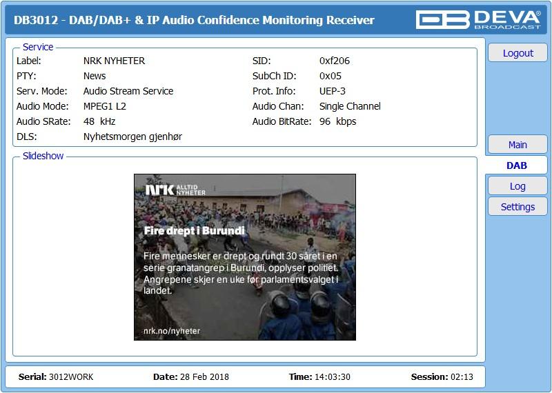 DB3012 - Advanced DAB/DAB+ & IP Audio Confidence Monitoring Receiver